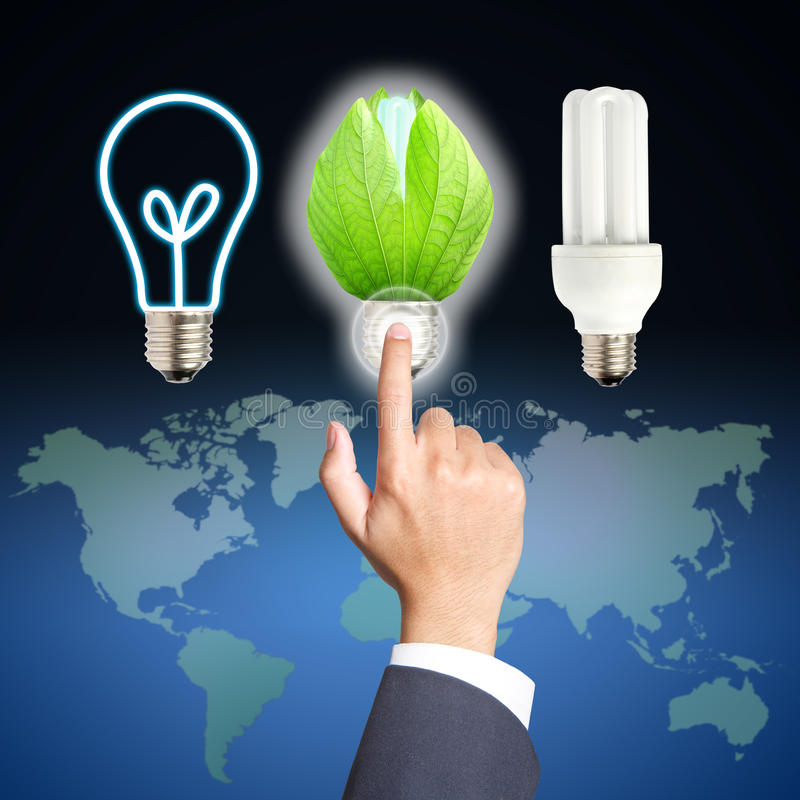 Free Business Hand Touch Green Light Bulb Stock Image - 25726771