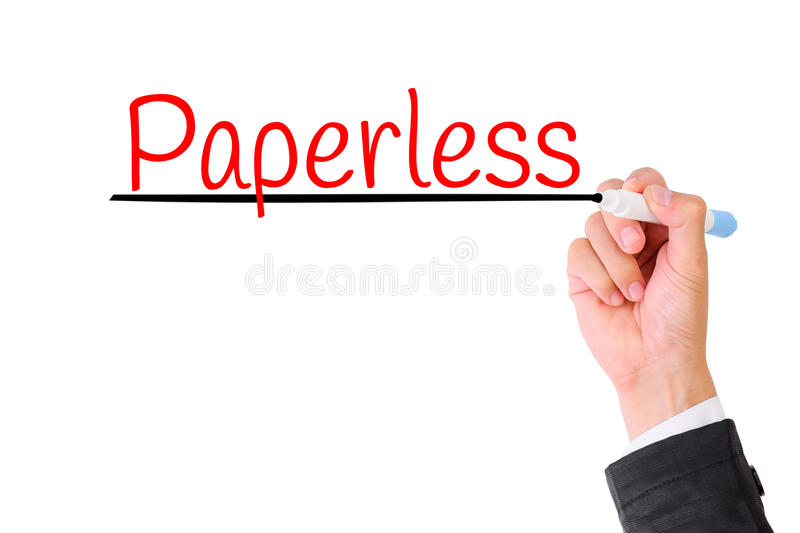 Business hand writing Paperless. Concept for Green office for Save the World royalty free stock photography