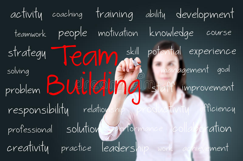Business hand writing team building concept stock photography