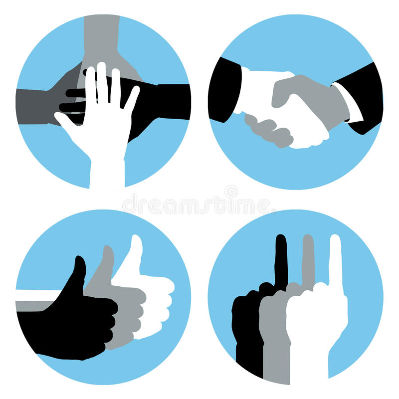 Business Hands. Business hand symbols in blue circles stock illustration