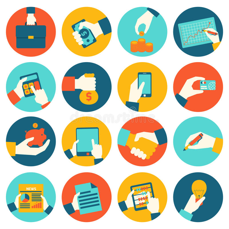 Business hands financial icons stock illustration