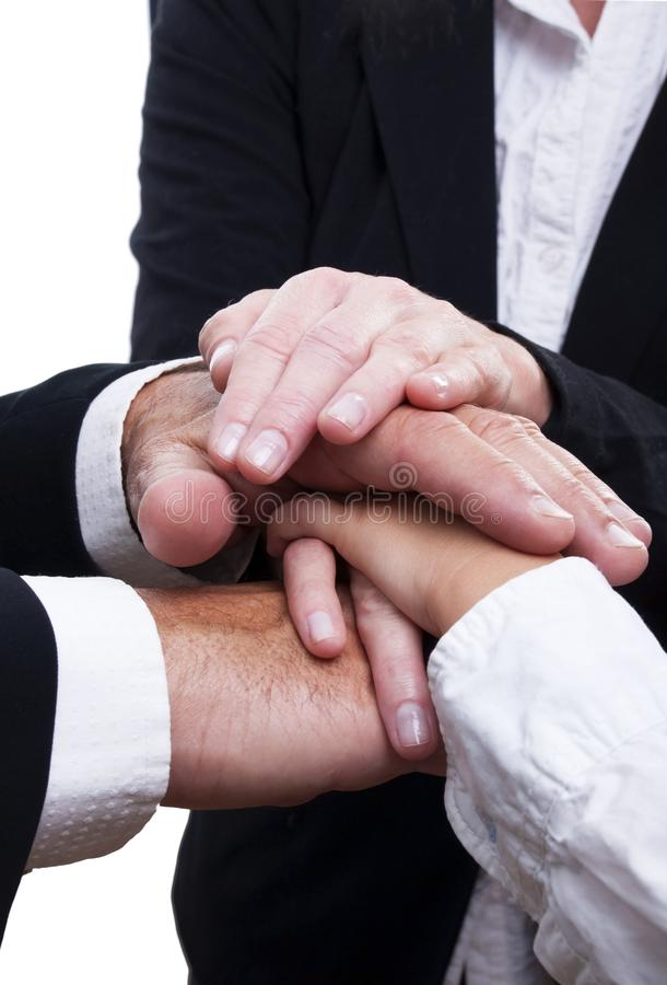 Business Hands. Many Business Hands Building a Symbol of Strength, Power and Teamwork, Isolated royalty free stock photo