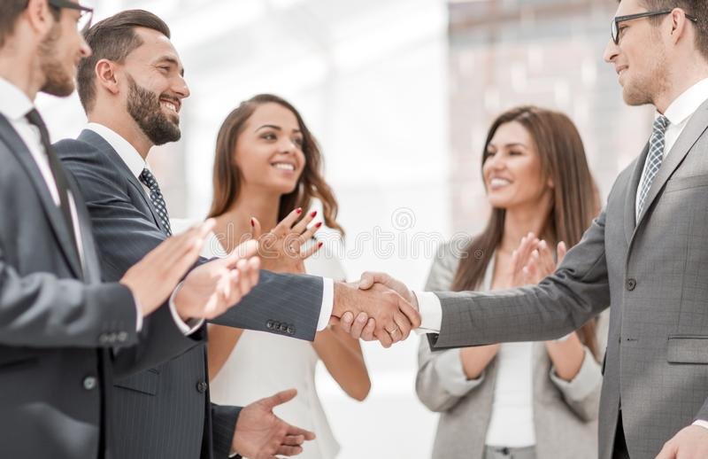 business hands partners shaking royaltyfri bild
