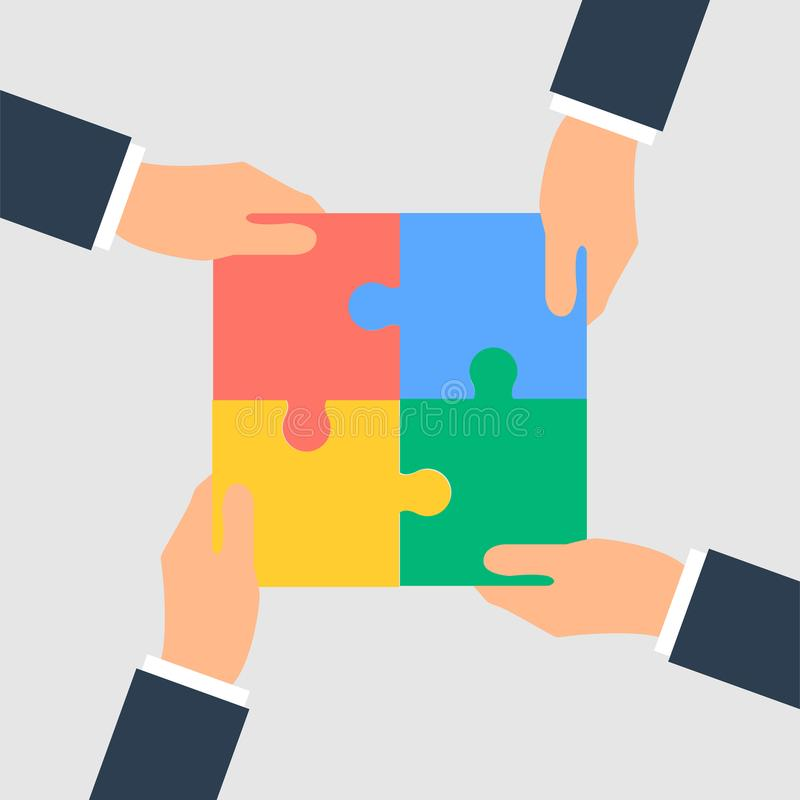 Business Hands putting puzzle pieces together royalty free illustration