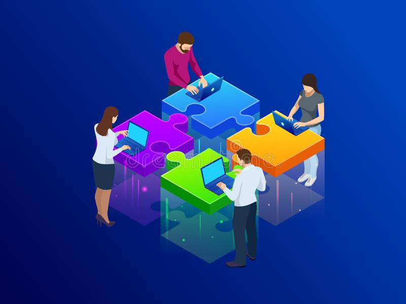 Business Hands putting puzzle pieces together vector illustration.  vector illustration