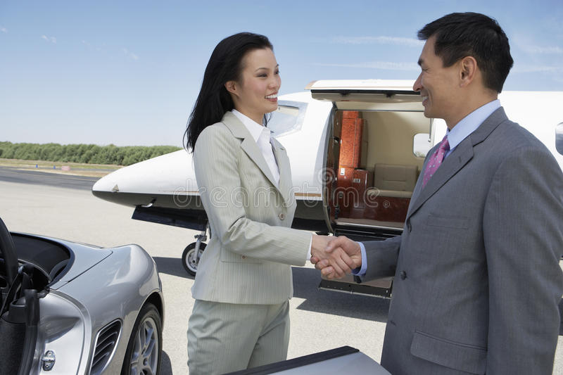 Business Handshake At The Airfield Royalty Free Stock Images