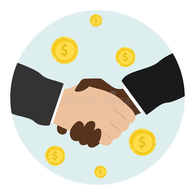 Business handshake. Bargaining. Business ethics. Monetary relations, benefit. Flat vector illustration vector illustration