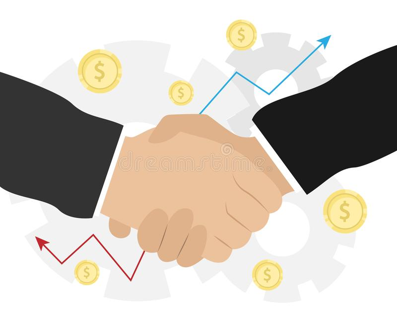 Business handshake. Bargaining. Business ethics. Monetary relations, benefit, trade. Flat vector illustration stock illustration
