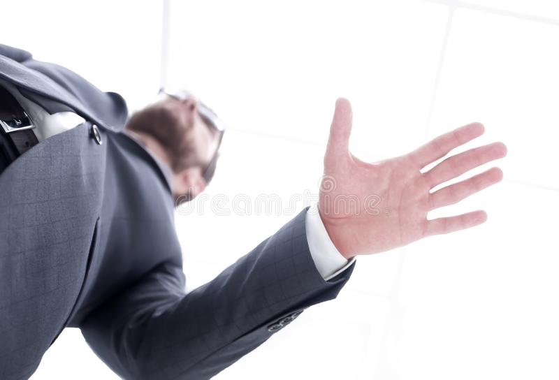 Two businessman shaking hands. Business handshake. Business man giving a handshake to close the deal stock image