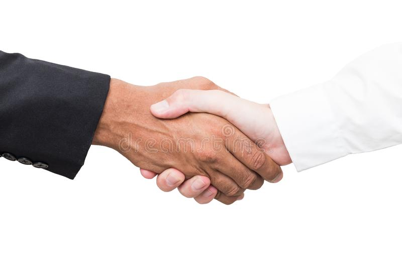 Business handshake and business people concepts. Two men shaking hands isolated on white background . stock photography
