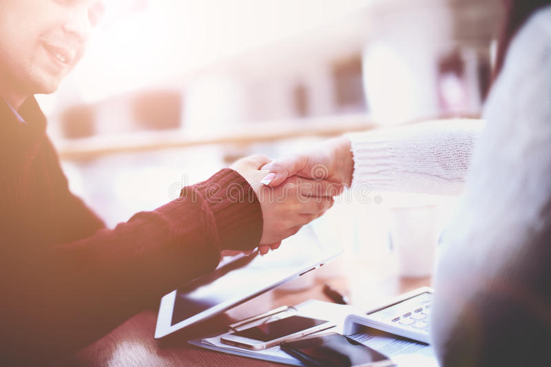 Business handshake and business people.Vintage tone royalty free stock images
