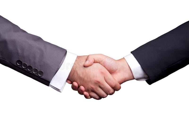 Business Handshake. Businessman handshakin on white background royalty free stock image