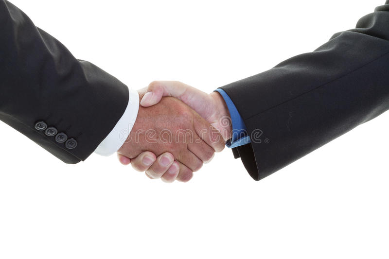 Business handshake. Closeup of a business handshake on a white background royalty free stock photography