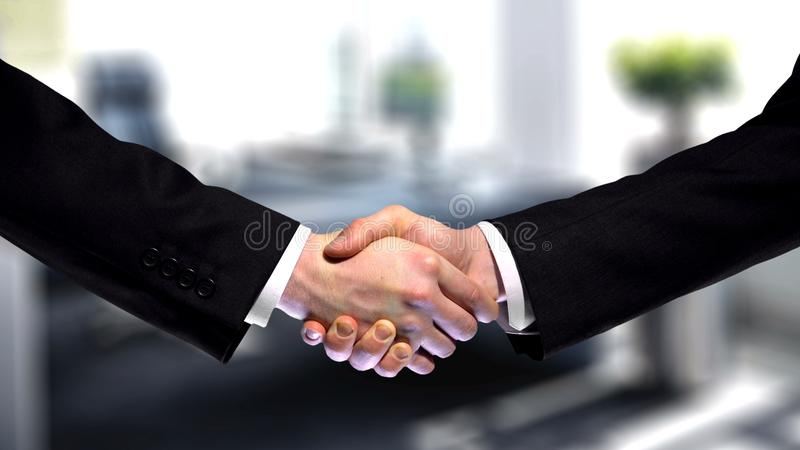 Business handshake on company office background, partnership trust, respect sign stock photo
