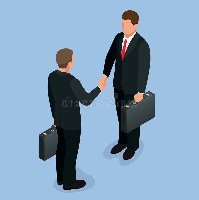 Business handshake concept. Handshake in flat style. Business deal handshake isometric vector illustration. Mans royalty free illustration