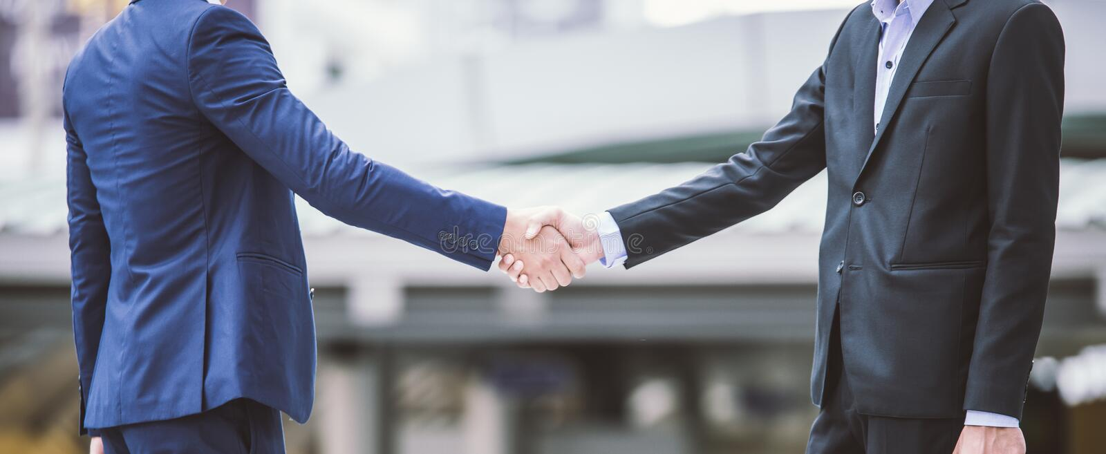 Business handshake concept. shaking hand of two businss stock photos