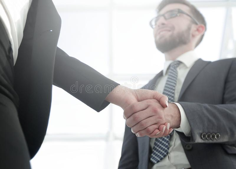 Business executives to congratulate the joint business agreement royalty free stock image