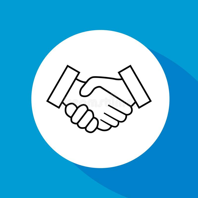 Business handshake, contract agreement, line art vector icon for apps and websites on blue background. vector illustration