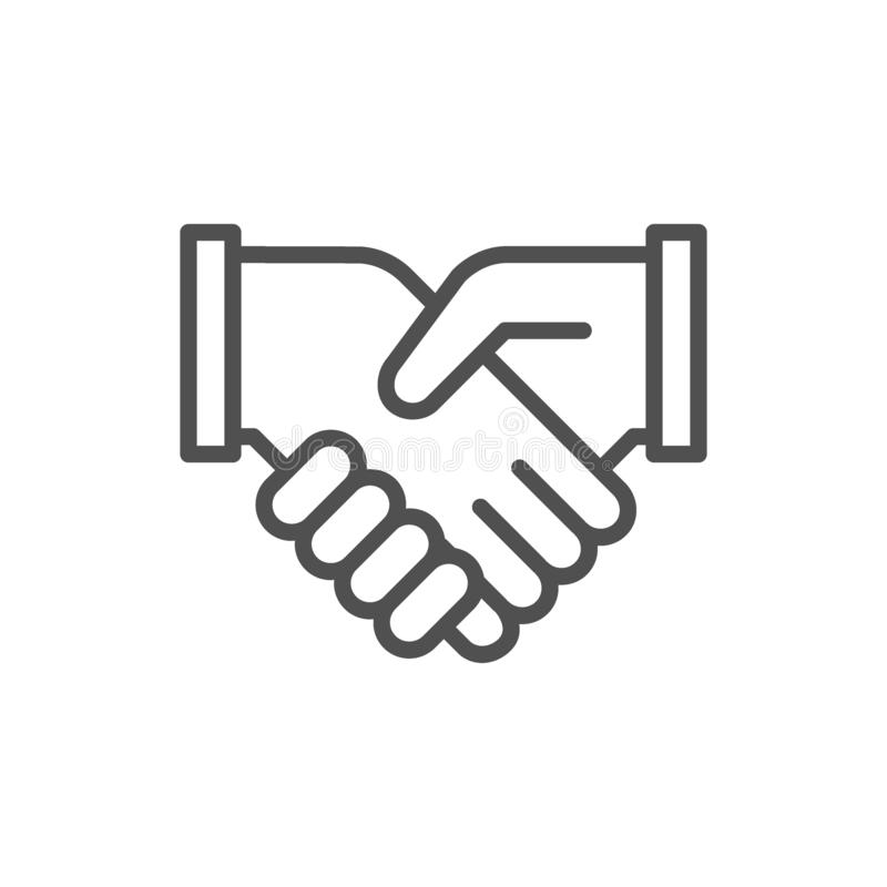Business handshake, contract agreement, partnership line icon. Vector business handshake, contract agreement, partnership, teamwork and friendship line icon stock illustration