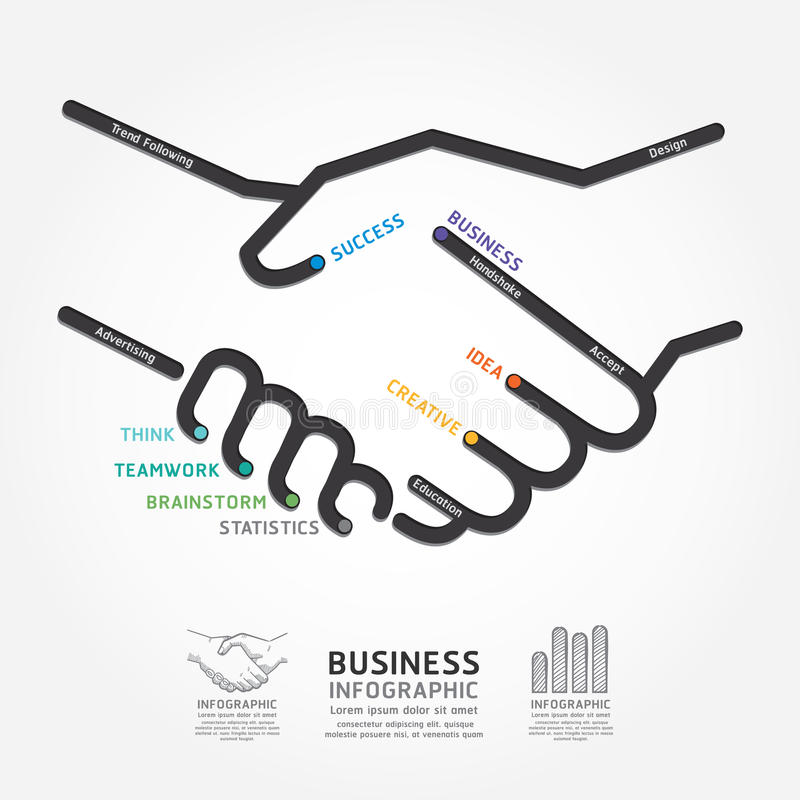 Business handshake diagram line style template. / can be used for infographics graphic or website layout vector vector illustration
