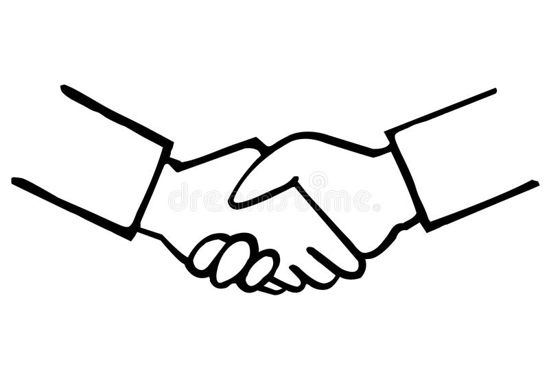 Line Art Hand : Business handshake hand drawing stock photo image of symbol