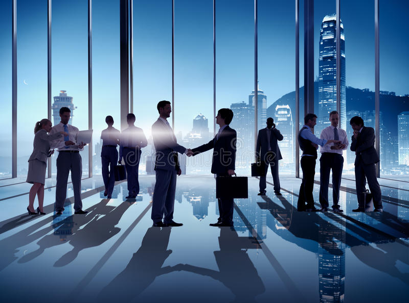 Business Handshake in Hong Kong Office.  royalty free stock image