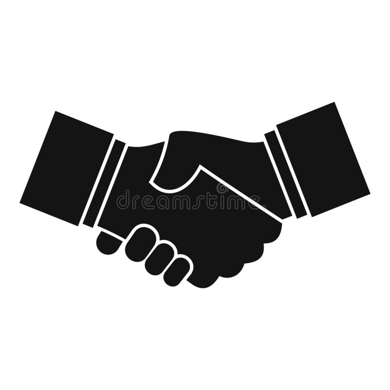 Business handshake icon, simple style vector illustration