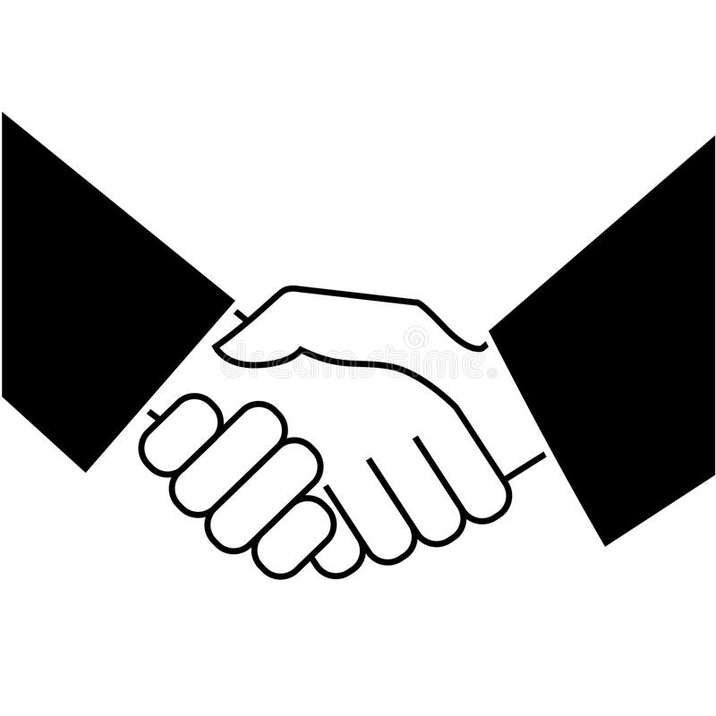 Business handshake. Icon on white background. Vector illustration stock illustration