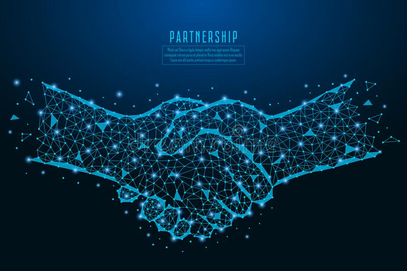 Business handshake illustration with points, lines, and polygonal shapes. Parthership deal concept made of stars, dots and line. Business handshake illustration royalty free illustration