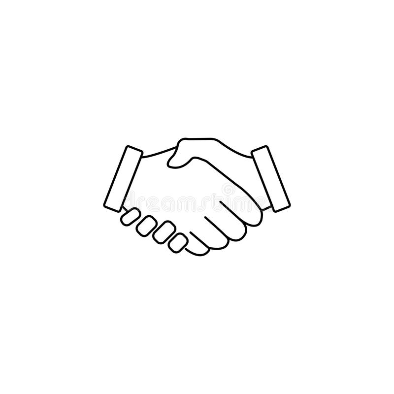 Business handshake line icon, deal agreement stock illustration