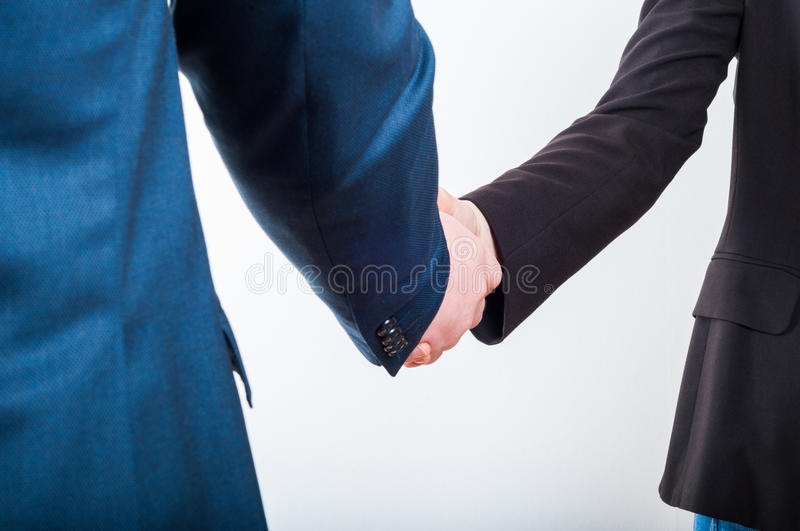 Business handshake when making a good profitable deal stock photography