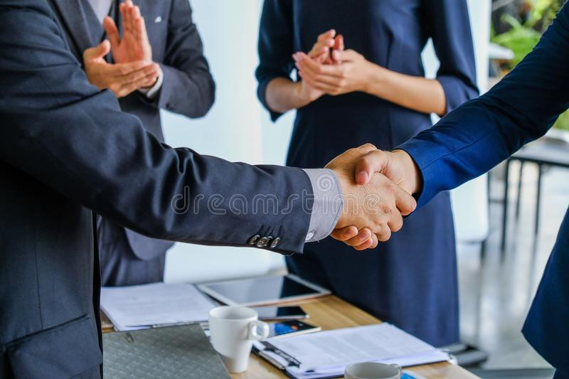 Business handshake at meeting or negotiation stock images