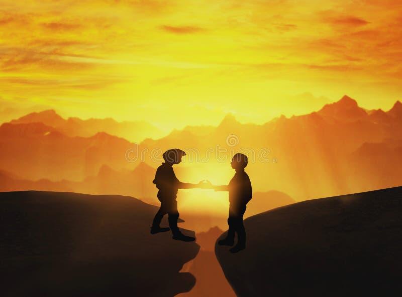 Business handshake over precipice between two rocky stock photos