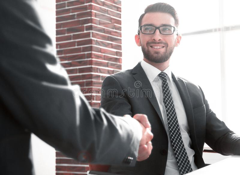 Business handshake . photo with copy space. The concept of partnership royalty free stock photography