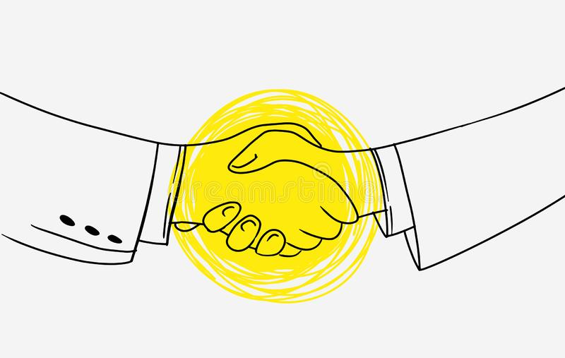 Business handshake. Picture contains idea of unification agreements and cooperation. Emphasis is made in yellow. Use as. Poster banner advertising motivation stock illustration