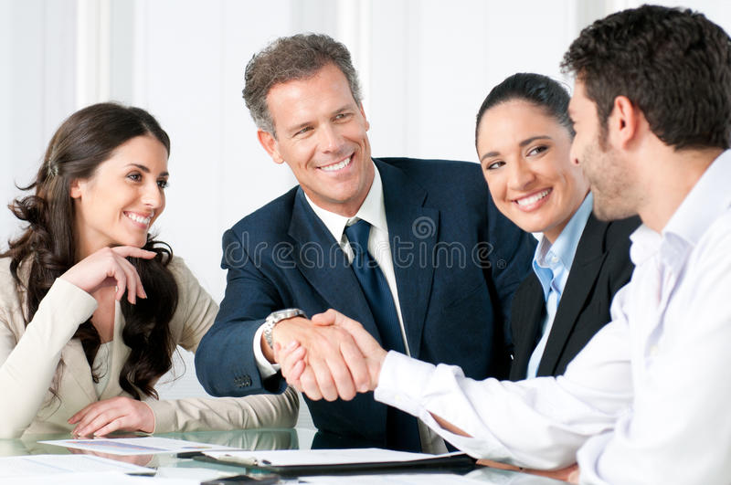 Business handshake to seal a deal royalty free stock photos