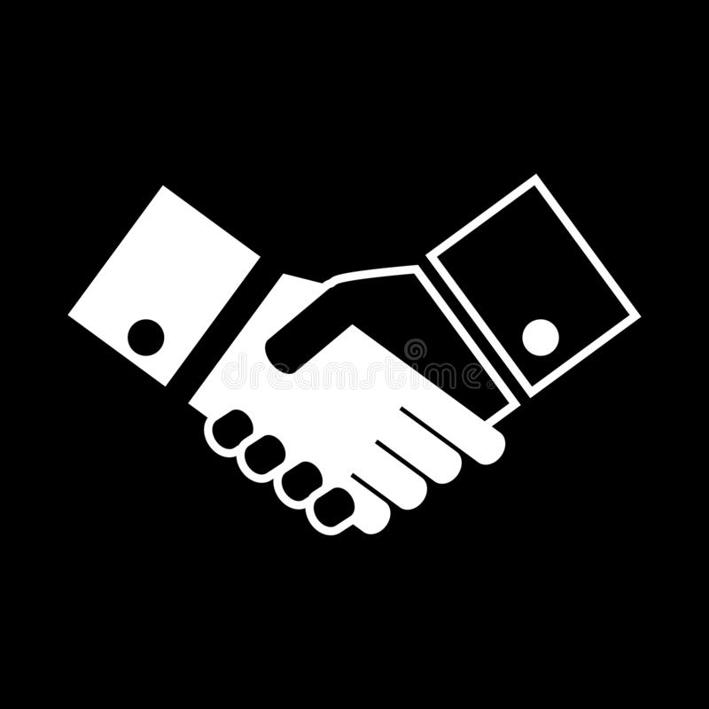 Business handshake for web icons and symbols on a black background. Flat vector illustration