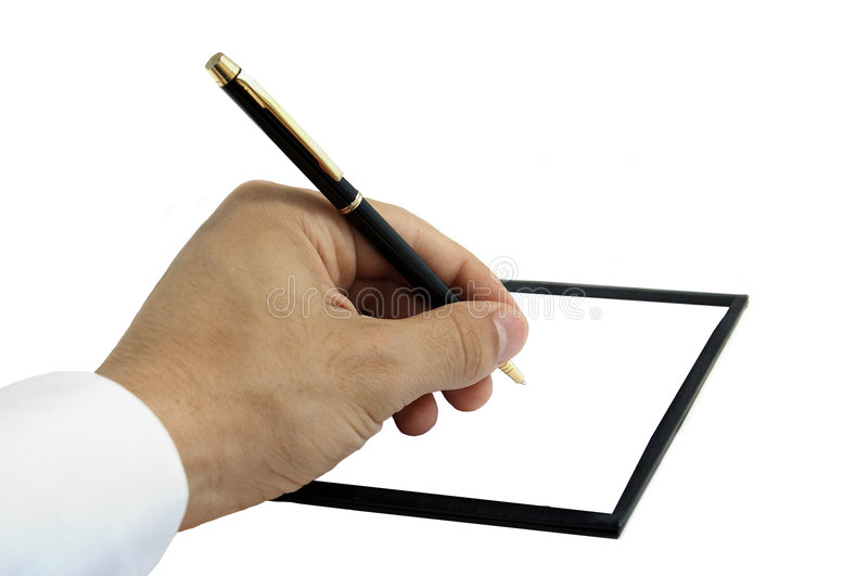 Business handwriting, isolated. Business handwriting with pen, isolated stock image