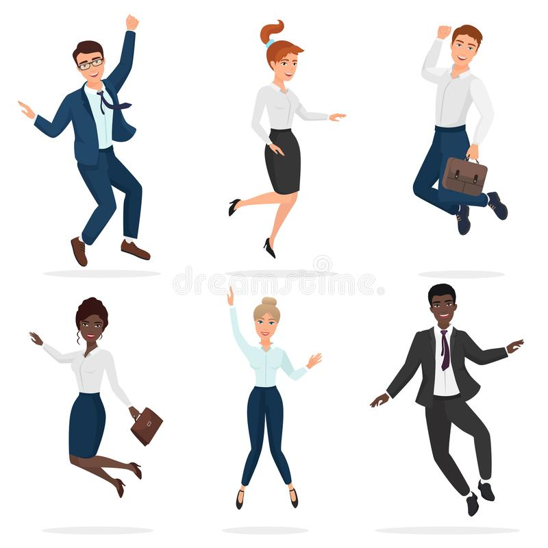Business happy people celebrating a victory jumping. Jump multi ethic people. Business happy people celebrating a victory jumping. Jump multi ethic people stock illustration