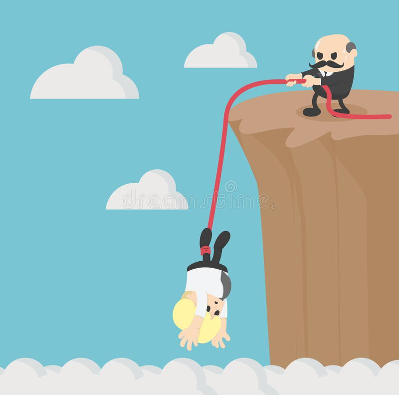 Business helping each other to climb mountain cliff royalty free illustration