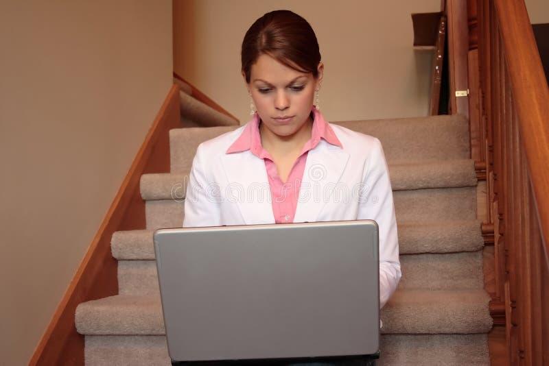 business her home laptop woman working στοκ εικόνα