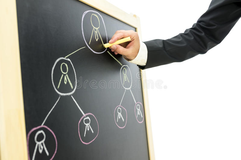 Business hierarchy. Businessman drawing business hierarchy or network of people on black board royalty free stock image