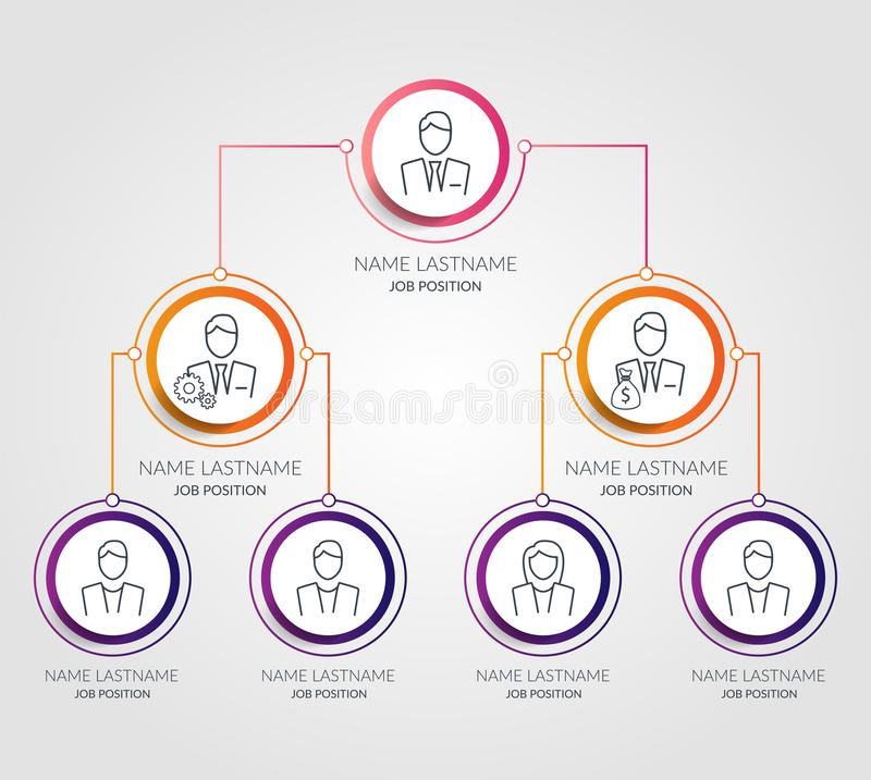 Business hierarchy circle chart infographics. Corporate organizational structure graphic elements. Company organization royalty free illustration