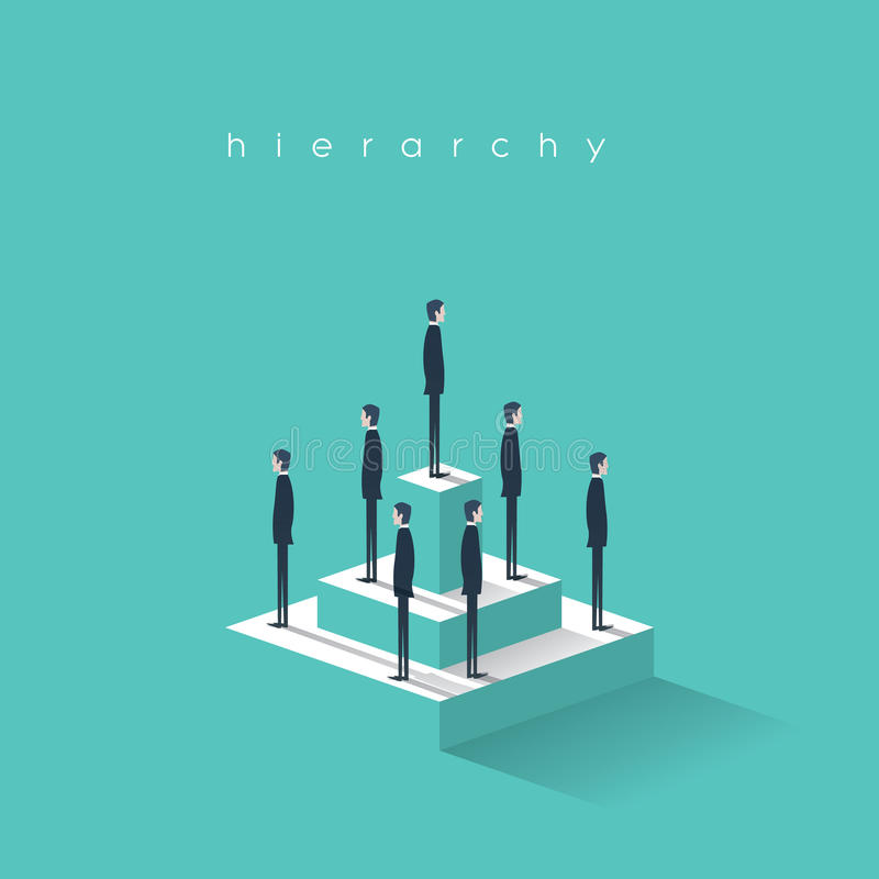 Business hierarchy in company concept with businessmen standing on a pyramid. Corporate organizational chart structure. vector illustration