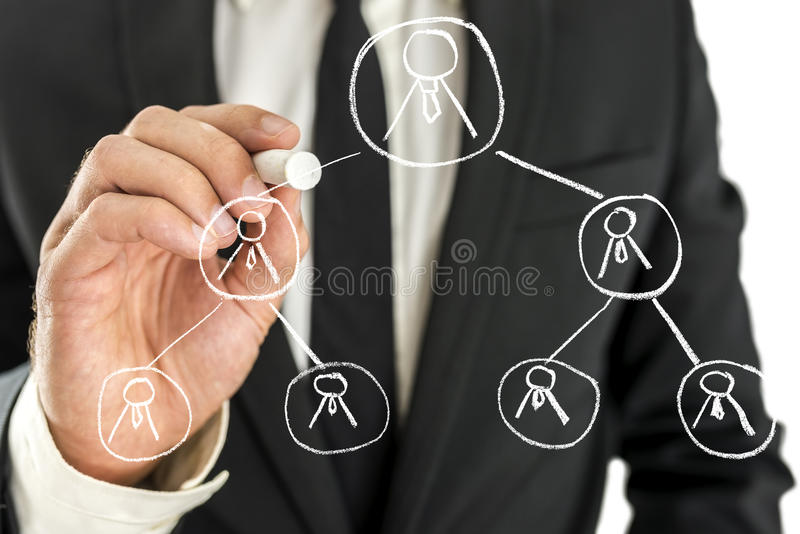 Business hierarchy concept. Business manager drawing business hierarchy on virtual screen stock photography