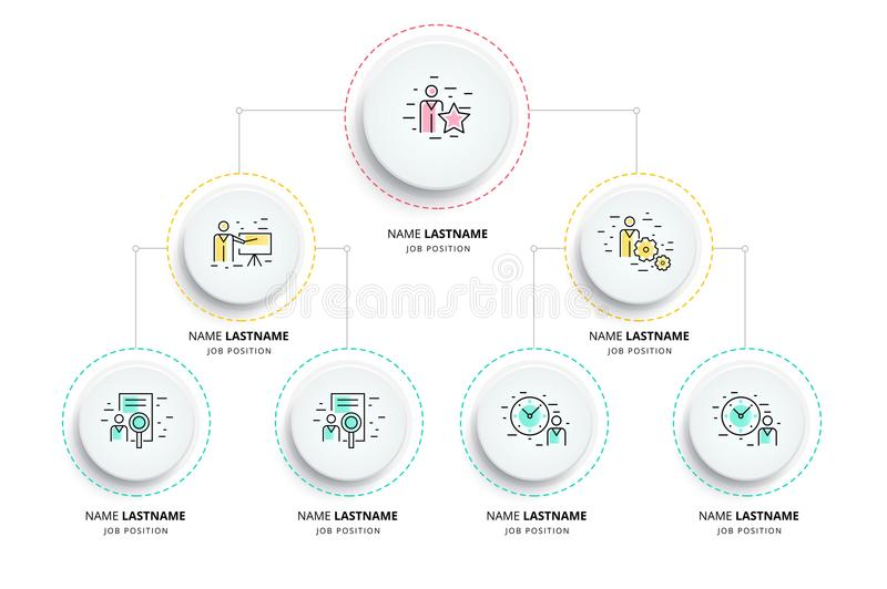 Business hierarchy organogram chart infographics. Corporate organizational structure graphic elements. Company organization royalty free illustration