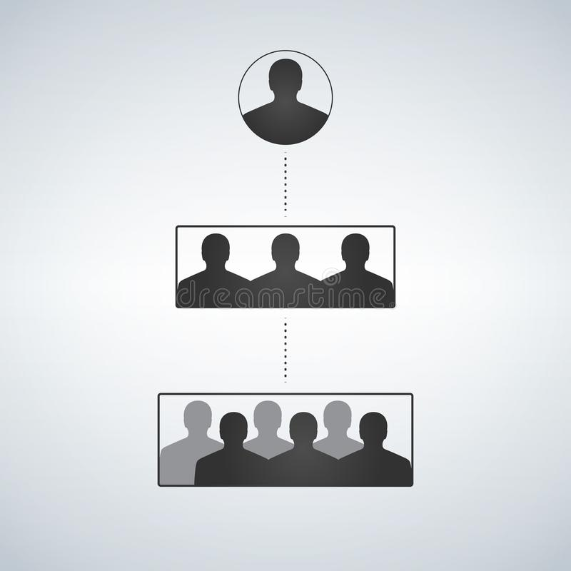 Business hierarchy structure, people Silhouette stock illustration