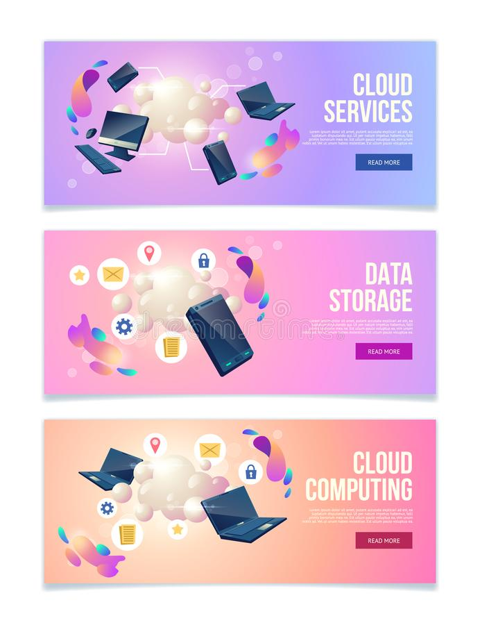 Business hosting service vector web banners set. Cloud computing and data storage online services, hosting company web banners, landing pages set with personal vector illustration