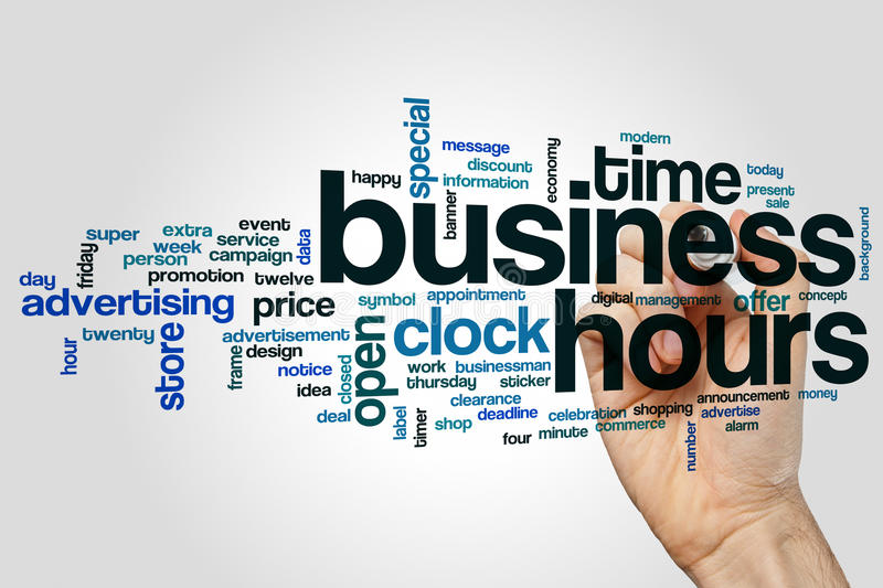 Business hours word cloud concept on grey background royalty free stock photos