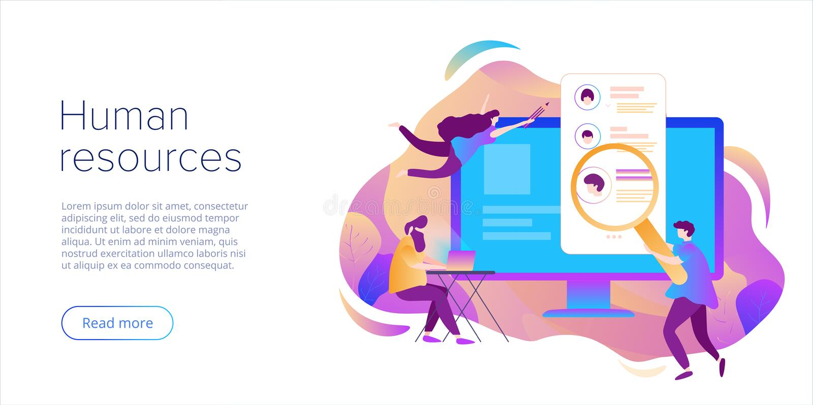 Business HR concept. Human resources manager hiring employee or workers for job. Recruiting staff in company. Organizational. Socialization metaphor royalty free illustration